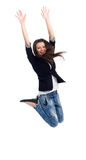 Student jumping. Female student jumping of success isolated over a white background Royalty Free Stock Photography