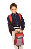 Student: Junge mit Lunchbox Lizenzfreies Stockbild