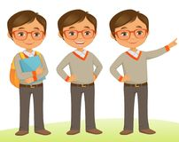 Student Kid. Smart Student kid in Three poses Royalty Free Stock Images