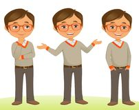 Student Kid. Smart Student kid in Three poses Royalty Free Stock Image