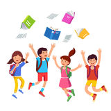 Student kids jumping raising hands above head. Happy children boys, girls throwing books up in air celebrating last school day. Student kids group with backpacks royalty free illustration