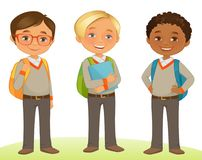 Student Kids. In Three poses royalty free illustration