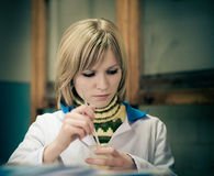 Student in laboratory Stock Image