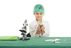 Student in laboratory holding new plant Royalty Free Stock Photos