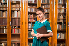 Student lady in library Royalty Free Stock Photography