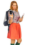 Student lady showing phone mobile Royalty Free Stock Photo