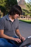 Student with a laptop Royalty Free Stock Images