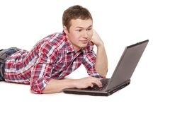 Student and laptop Royalty Free Stock Photography