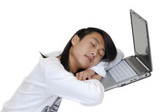 The student and laptop Stock Image