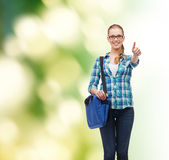 Student with laptop bag showing thumbs up Stock Photos