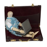 Student with Laptop in a Briefcase Royalty Free Stock Photography