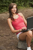 Student with laptop in forest Stock Photos