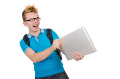 Student with laptop isolated on white Stock Photos