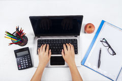 Student with laptop and school stationery 1 Stock Photos