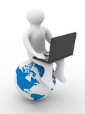Student with the laptop sitting on globe. 3D image Stock Photography