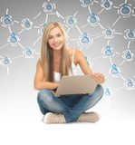 Student with laptop and virtual screen Stock Photos