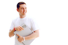 Student with laptop on the white Royalty Free Stock Photography