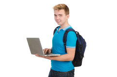 Student with laptop on white Stock Photography
