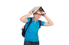Student with laptop on white Royalty Free Stock Image