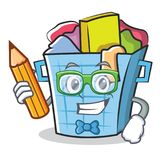 Student laundry basket character cartoon. Vector illustration royalty free illustration