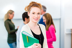 Student with learning group in college Royalty Free Stock Image