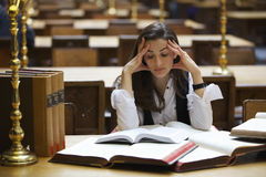 Student learning in library Stock Images