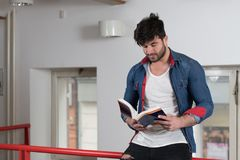 Student Learning in Library. Handsome Male Student With Books Working in a High School Library Royalty Free Stock Photography