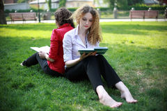 Student learning in the park. On the grass Royalty Free Stock Images