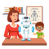 Student learning robotics with teacher and robot Stock Photography