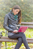 Student learns outdoors Stock Photography