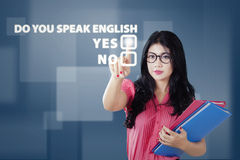 Student learns to speak english Royalty Free Stock Image