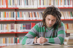 Student in library. Young male student in the library, studying Royalty Free Stock Photos