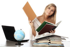 Student in a library Stock Image