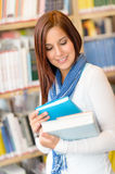 Student at library read book high school Stock Photo
