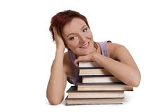 Student lie with book Royalty Free Stock Photography