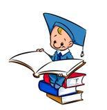 Student liest die Buchkarikatur Lizenzfreie Stockfotos