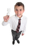 Student with light bulb ideas or environment Royalty Free Stock Photos