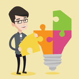 Student with lightbulb vector illustration. Royalty Free Stock Photo