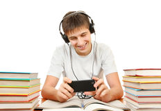Student listen the Music Stock Image