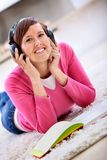 Student listening to music Stock Image