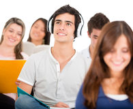 Student listening to music Royalty Free Stock Photography