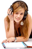 Student listening to music Royalty Free Stock Photo