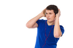 Student is listening to music. Stock Photos