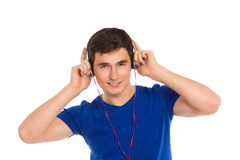 Student is listening to music. Royalty Free Stock Photos