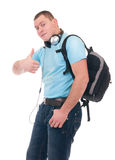 Student listening to music on headphone Stock Images