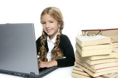 Student  little blond girl smiling Stock Image