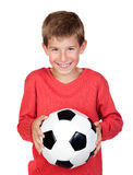 Student little child with soccer ball Stock Photos