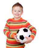 Student little child with soccer ball Royalty Free Stock Photography