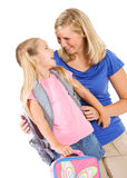 Student: Little Girl ANd Parent Share A Laugh Before Leaving For Royalty Free Stock Photography