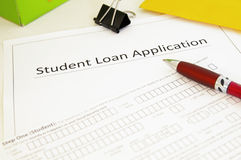 Student loan application stock photography